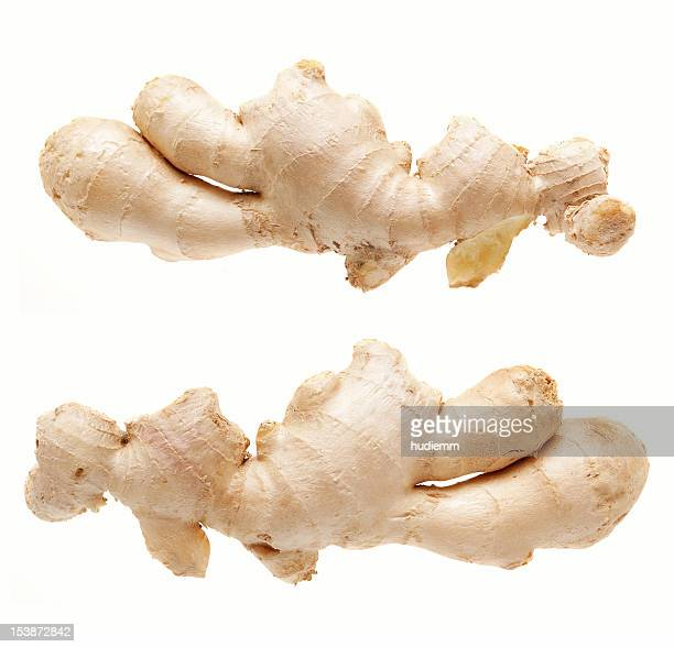 ginger root isolated on white background (xxxl) - ginger stock photos and pictures