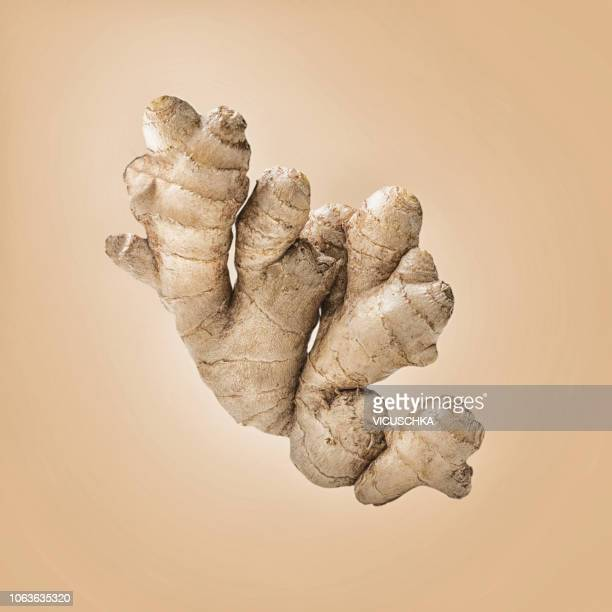 ginger root on light background - ginger stock photos and pictures
