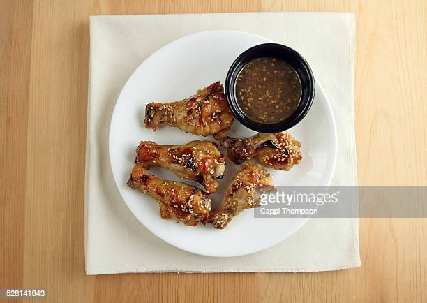 Ginger soy marinated chicken wings overhead view
