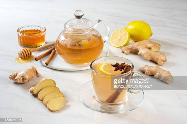 ginger tea - herbal tea stock pictures, royalty-free photos & images