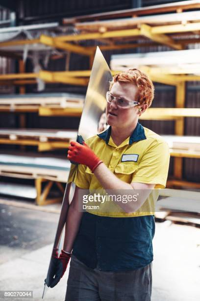 Ginger worker in Australia working early morning shift