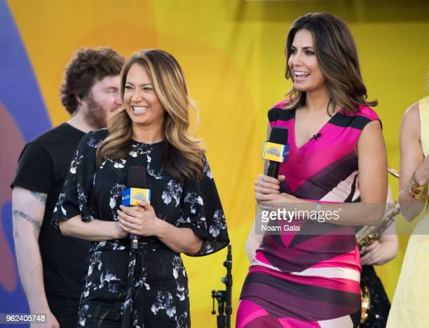 Ginger Zee and Cecilia Vega attend Good Morning America at SummerStage at Rumsey Playfield Central Park on May 25 2018 in New York City