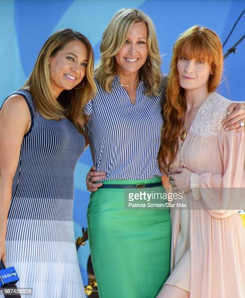 Ginger Zee and Lara Spencer with Florence Welch of Florence And The Machine are seen on June 29, 2018 in New York City on the set of Good Morning...