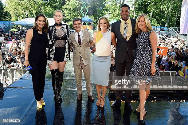 """Ginger Zee, Iggy Azalea, George Stephanopoulos, Amy Robach, Michael Strahan, and Lara Spencer pose onstage during ABC's """"Good Morning America's"""" 2016..."""
