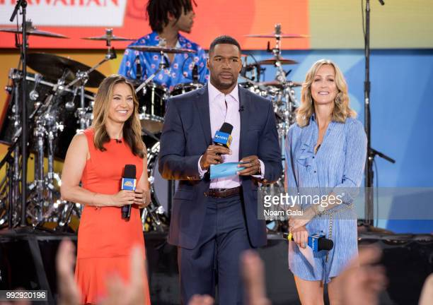 Ginger Zee Michael Strahan and Lara Spencer attend ABC's 'Good Morning America' at Rumsey Playfield Central Park on July 6 2018 in New York City