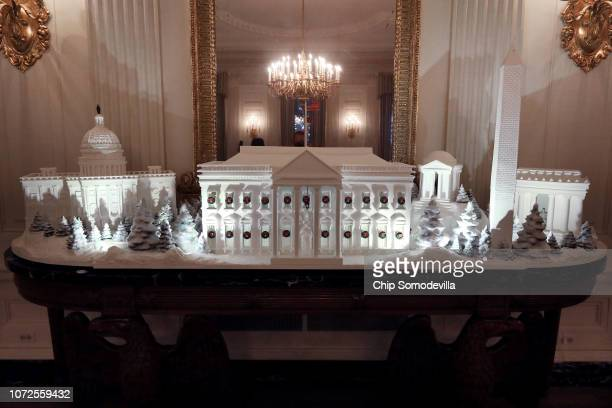 Gingerbread buildings from the National Mall including the Capitol the Lincoln Memorial the Jefferson Memorial the Washington Monument and the White...