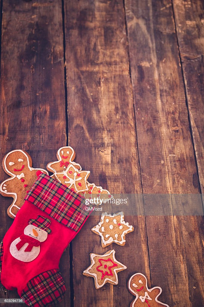 Gingerbread Cookies and Christmas Ornaments Decoration : Stock Photo