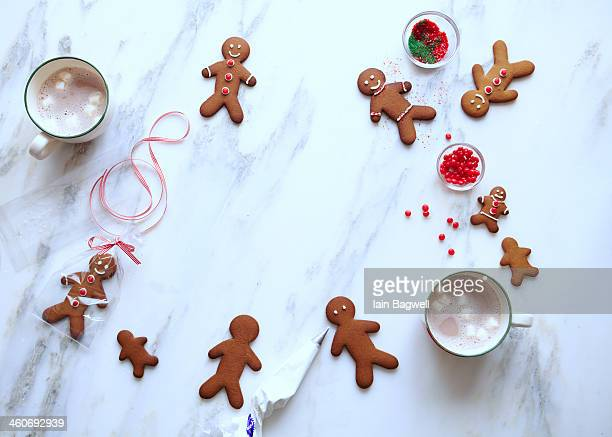 gingerbread cookies and cocoa - gingerbread man stock photos and pictures
