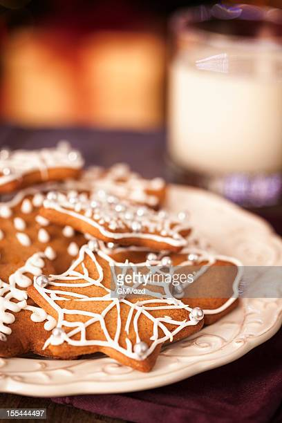 Gingerbread Cookies and Glass of Milk for Christmas