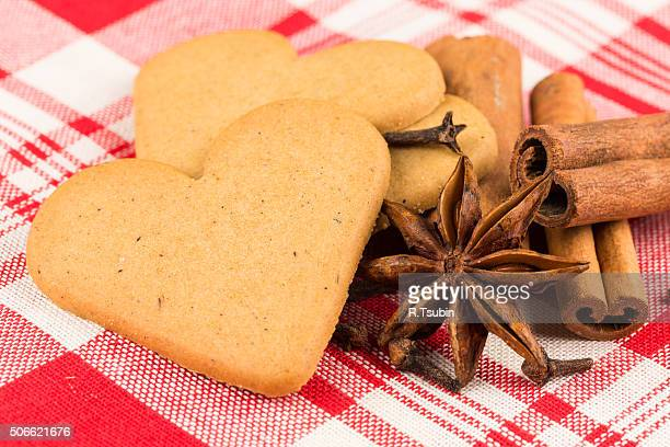 Gingerbread cookies on fabric