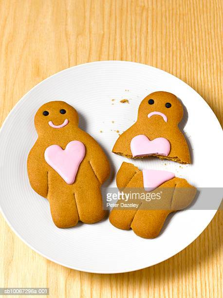 Gingerbread couple on plate, elevated view