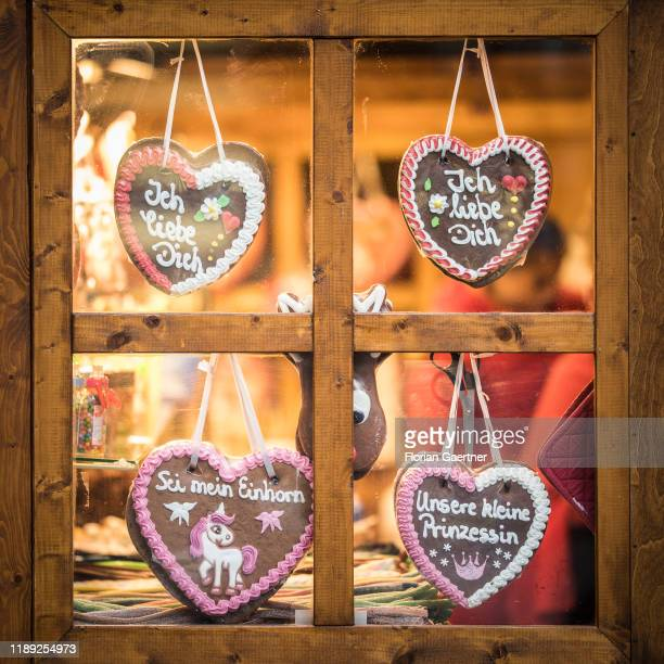 Gingerbread haerts are pictured on a christmas market on December 17, 2019 in Berlin, Germany.