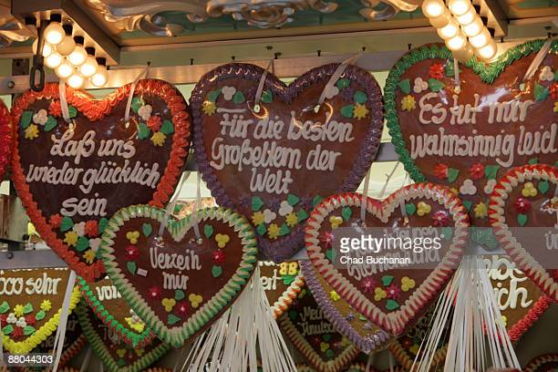 Gingerbread hearts are displayed for sale at the traditional country fair called 'Bergkirchweih' on May 28 2009 in Erlangen Germany