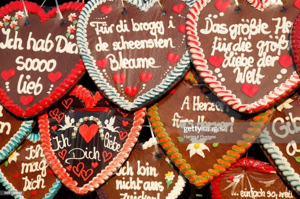 Gingerbread Hearts At The Oktoberfest Munich Bavaria Germany Stock