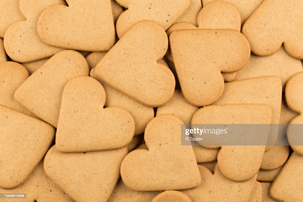 Gingerbread Hearts Cookies As A Background Christmas Decoration