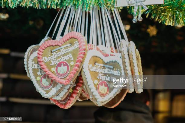 Gingerbread hearts of the christmas Market in Nuremberg The worldfamous Christmas Market of Nuremberg was full of people even if there was heavy...