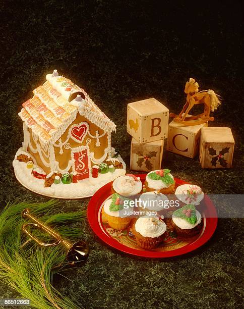 Gingerbread house and cupcakes