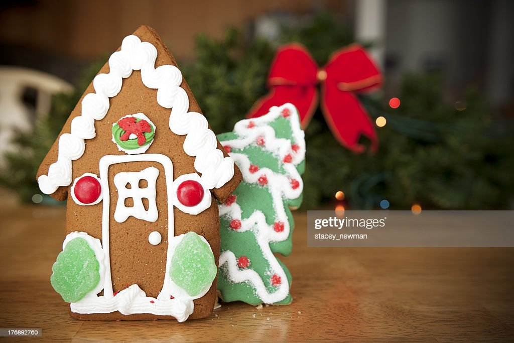 Christmas Gingerbread House Background.Gingerbread House Christmas Background Ribbon And Lights