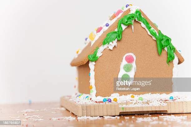 Gingerbread house decorated by child.