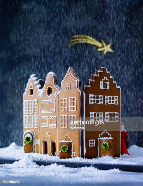 Gingerbread house in artificial snow