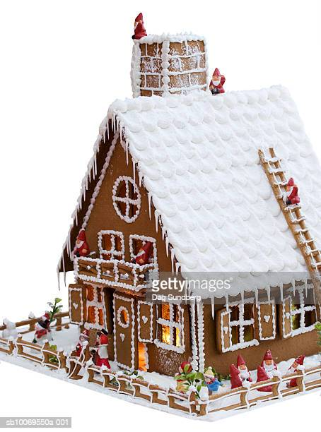 Gingerbread house on white background, close-up