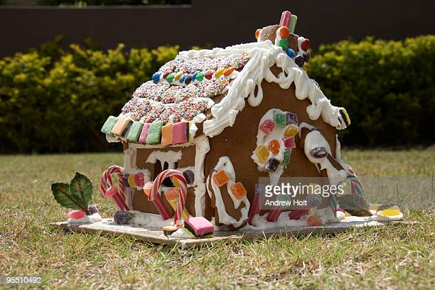 Gingerbread house outdoors on a lawn
