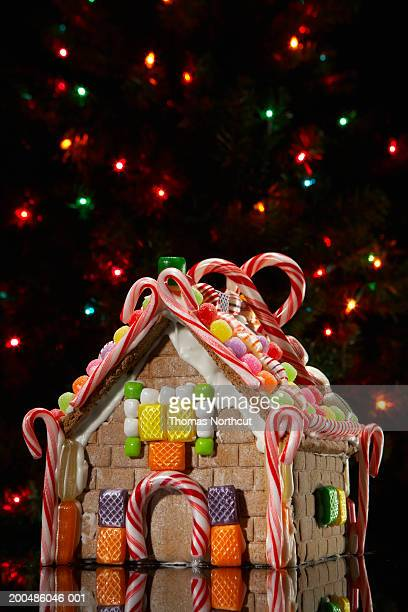 Gingerbread house with Christmas lights in background