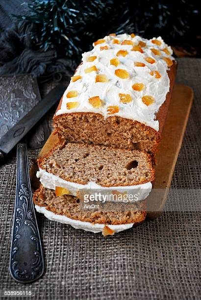 Gingerbread loaf cake with cream cheese frosting