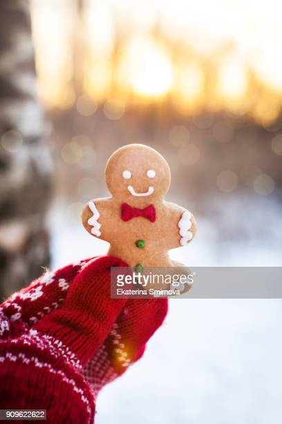 gingerbread man cookie in mitten hand - mitten stock pictures, royalty-free photos & images