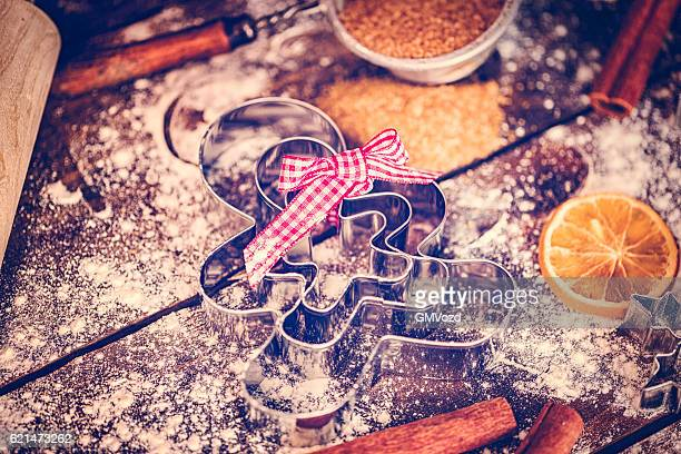 Gingerbread Man Cutters and Baking Utensils Ready for Christmas Baking