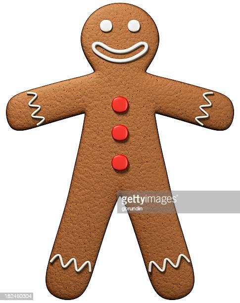 gingerbread man isolated on white - gingerbread man stock photos and pictures