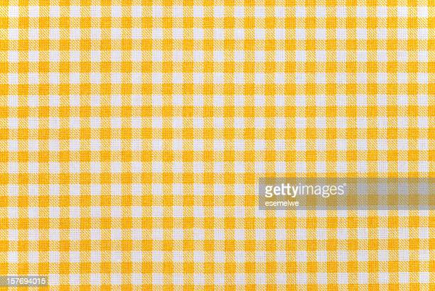 gingham pattern fabric - yellow stock pictures, royalty-free photos & images