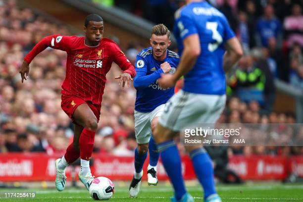Gini Wijnaldum of Liverpool during the Premier League match between Liverpool FC and Leicester City at Anfield on October 5, 2019 in Liverpool,...