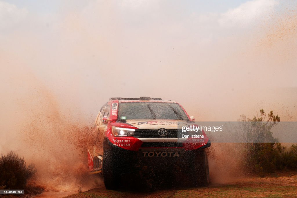 Giniel De Villiers of South Africa and Toyota Gazoo Racing drives with co-driver Dirk Von Zitzewitz of Germany in the Hilux Toyota car in the Classe : T1.1 : 4x4 Essence during stage seven of the 2018 Dakar Rally between La Paz and Uyuni on January 13, 2018 in UNSPECIFIED, Bolivia.