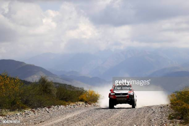 Giniel De Villiers of South Africa and Toyota Gazoo Racing drives with codriver Dirk Von Zitzewitz of Germany in the Hilux Toyota car in the Classe...