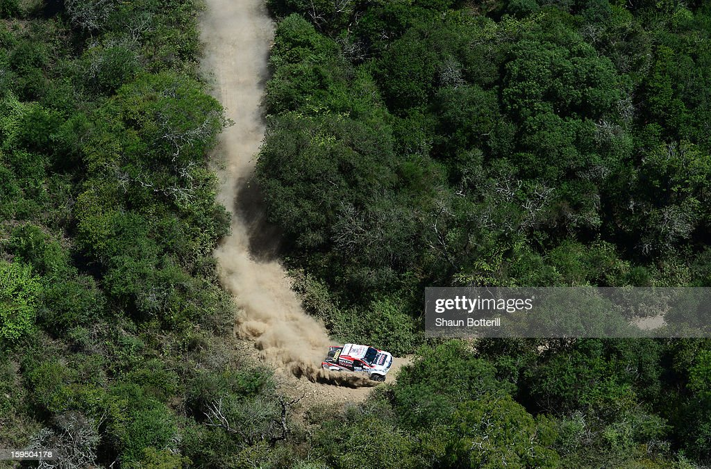 Giniel De Villiersand and co-driver Dirk Von Zitzewitz of team Toyota compete in stage 9from Tucuman to Cordoba during the 2013 Dakar Rally on January 14 in Tucuman, Argentina.