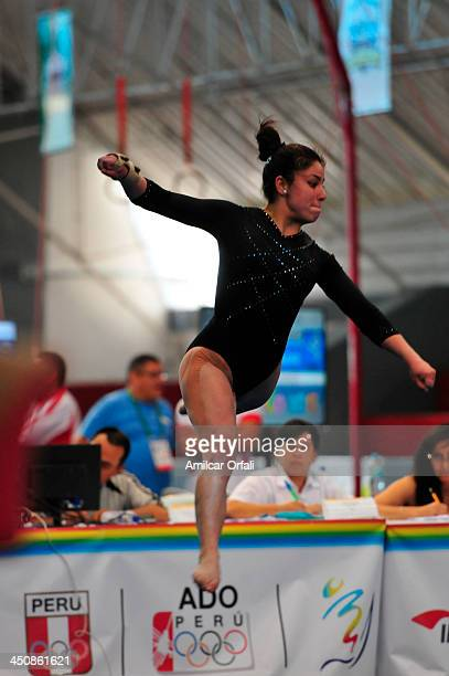 Ginna Elena Escobar Betancour of Ecuador competes in Floorevent as part of the woman's Gymnastics All Around part of the XVII Bolivarian Games...