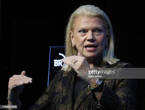Ginni Rometty chairman president and CEO of IBM Corporation participates in a Business Roundtable discussion on theFuture of Work in an Era of...