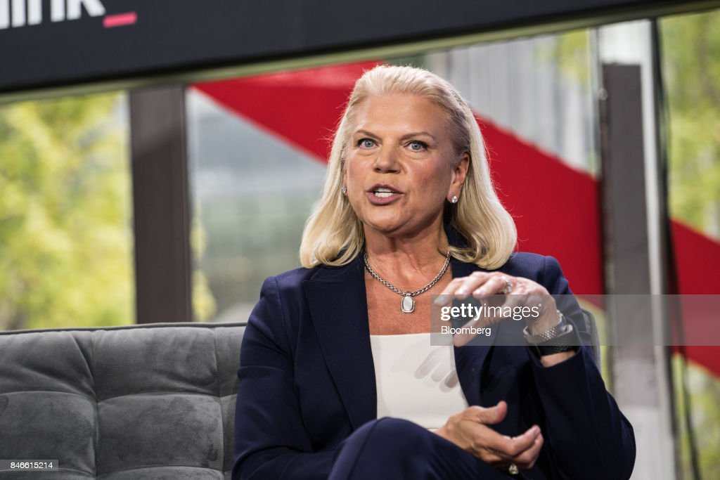Ginni Rometty, chief executive officer of International Business Machines Corp. (IBM), speaks during a Bloomberg Technology event in New York, U.S., on Wednesday, Sept. 13, 2017. The event, titled Sooner Than You Think at Cornell Tech, spotlights the technology leaders who are grappling with the challenges of disruptive technology and uncovering hidden opportunities. Photographer: Misha Friedman/Bloomberg via Getty Images