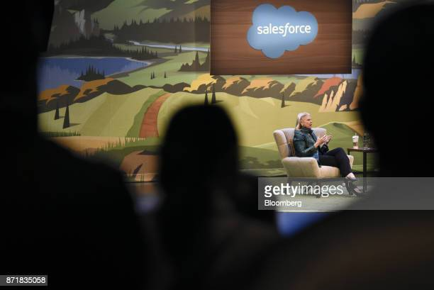 Ginni Rometty chief executive officer of International Business Machines Corp speaks during the Dreamforce Conference in San Francisco California US...