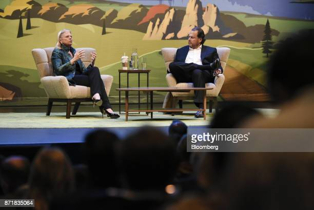 Ginni Rometty chief executive officer of International Business Machines Corp left speaks as Marc Benioff chairman and chief executive officer of...