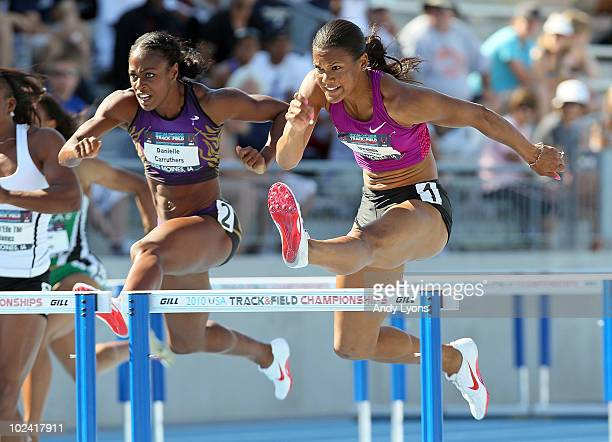 Ginnie Powell runs the Womens 100 Meter Hurdles during the 2010 USA Outdoor Track & Field Championships at Drake Stadium on June 25, 2010 in Des...
