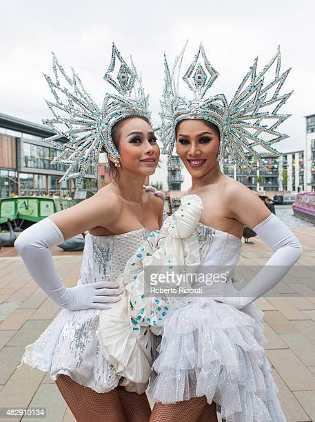 Ginny and Naomi of The Ladyboys of Bangkok pose during a photocall for their show 'Beauties and the Beats' during Edinburgh Festival Fringe previews...