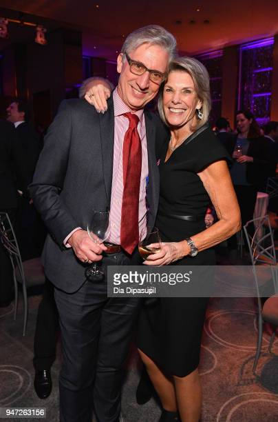 Ginny Clark and guest attend the Lincoln Center Alternative Investment Industry Gala on April 16 2018 at The Rainbow Room in New York City