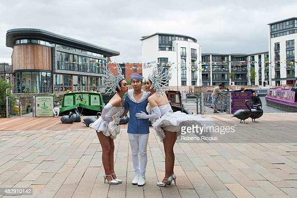 Ginny Oke and Naomi of The Ladyboys of Bangkok pose during a photocall for their show 'Beauties and the Beats' during Edinburgh Festival Fringe...
