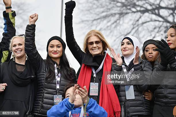 Ginny Suss Carmen Perez Gloria Steinem Linda Sarsour Tamika Mallory and Mia IvesRublee appear onstage during the Women's March on Washington on...
