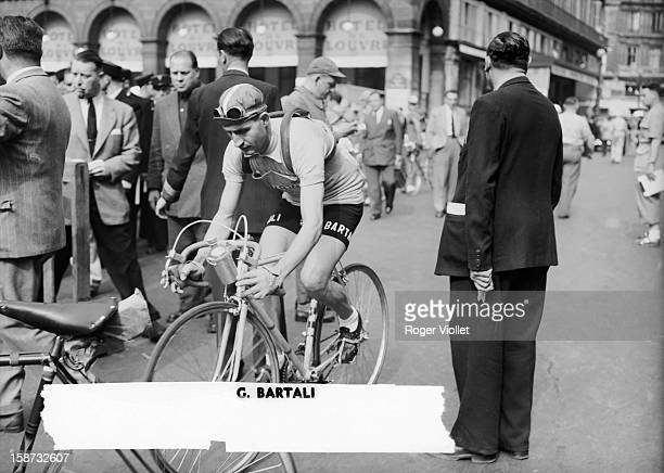 Gino Bartali , Italian racing cyclist, at the start of the Tour de France in Paris . He won the Tour de France twice, in 1938 and 1948.