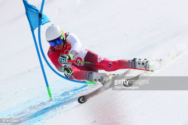 Gino Caviezel of Switzerland competes during the Alpine Skiing Men's Giant Slalom on day nine of the PyeongChang 2018 Winter Olympic Games at...