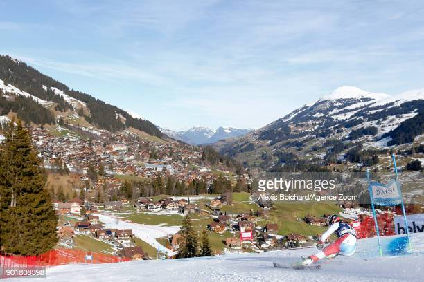 Gino Caviezel of Switzerland competes during the Audi FIS Alpine Ski World Cup Men's Giant Slalom on January 6 2018 in Adelboden Switzerland