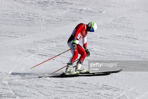 Gino Caviezel of Switzerland reacts at the finish during the Alpine Skiing Men's Giant Slalom on day nine of the PyeongChang 2018 Winter Olympic...